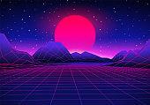 Retro futuristic landscape with sun and shiny grid