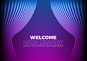 Drapery futuristic background with 80s style neon lines. Welcoming drapes for cover or party invitation made in new retro wave trend. Stage abstract.