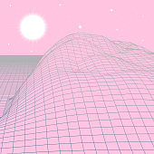 Landscape with wireframe grid of 80s styled retro computer game or science background 3d structure with sun and mountains