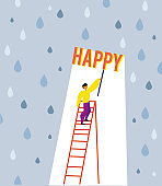 Happiness concept with man and umbrella under the rain. Vector graphic illustration.