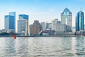 Panoramic view of the bund city in huangpu district, Shanghai