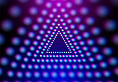 Abstract neon triangle with grid of glowing lights