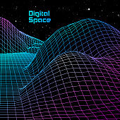 Landscape with wireframe grid of 80s styled retro computer game or science background 3d structure with red mountains