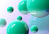 Abstract vector background with green balls flying in perspective for science and business wallpaper