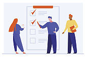 Customer filling up survey form. Analysts studying client satisfaction flat vector illustration. Feedback, quality, poll concept for banner, website design or landing web page