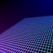 Bright neon grid lines glowing background with 80s style