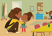 Illustration of a Mother Gives a Goodbye Kiss to her daughter. Mum Gives Kiss to the child at the school door. Preschool girl say hello to mom at Montessori school. Vector illustration.