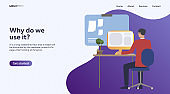 Employee working in office. Freelancer at workplace, computer, desktop vector illustration. Business, work on project concept for banner, website design or landing web page