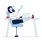 Employee smoking at workplace. Woman with cigarette sitting at laptop flat vector illustration. Addiction, violation of order concept for banner, website design or landing web page