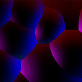 Abstract vector background with neon glowing dark balls or foam in 80s synthwave style