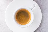 Espresso coffee in a white ceramic cup