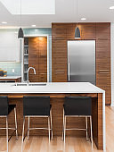 Beautiful modern kitchen detail in new luxury home. Features large waterfall island, hardwood cabinets, stainless steel refrigerator, and walk-in pantry