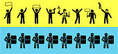 Set of icons that represent confrontation between police and demonstrators.