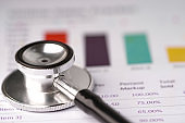 Stethoscope on chart or graph paper, Financial, account, statistics and business data  medical health concept.