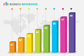 Bar Chart Graph Diagram Statistic Business Annual report colorful Infographic on world globe background : illustration vector
