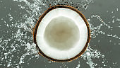 Freeze Motion of Water Splashing on Coconut