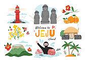 Welcome to Jeju Island travel poster design