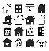 Large set of black and white house icons