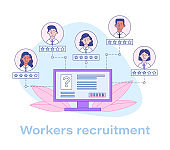 Recruiting workers in a business online