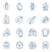 Simple Set of Science Related Color Vector Line Icons. Contains such Icons as DNA, Analysis, Research, Genetic Modification and more. Web design, mobile app.