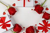 Roses gifts and hearts card