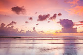 Pink sunset over sea