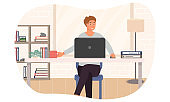 Vector illustration of freelance work at home