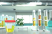lab test tubes in modern science facility - urine quality test for nitrite or infection, medical 3D illustration