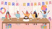Vector illustration of kids on birthday party