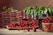 Cherry liquor and red cherries on a wooden table in garden.
