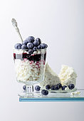 Cottage cheese with blueberry jam and fresh berries on a white background.