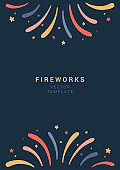 Banner with fireworks