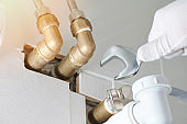 Installing pipe connection in bathroom