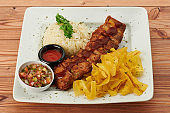 Plate with bbq ribs