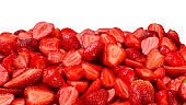 Strawberry slices. Fresh berries macro. Fruit background. Top view.