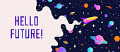 Universe. Motivation banner with universe cosmos