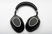 Wireless modern black headphones