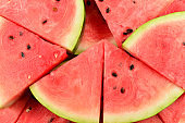 Juicy watermelon slices background. Top view.