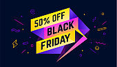 Black Friday. 3d sale banner with text 50 percent Off Black Friday