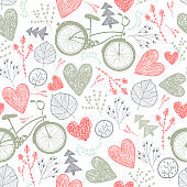 Vector seamless romantic pattern. Hearts, florals, vintage bicycles spring, summer, wedding background.