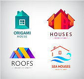 Vector set of house real estate concept, building construction icon.