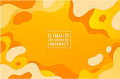 Vector abstract liquid dynamic background, banner design. Orange, yellow elements, shapes. Concept illustration for poster, web, landing, page, cover, ad, card