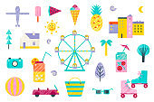 Vector set of traveling, vacations, summer, holidays flat icons.  tourism and journey objects, beach party, amusement park