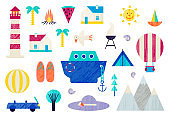 Vector set of traveling, vacations, summer, holidays flat icons. Planning a vacation, tourism and journey objects, cruise