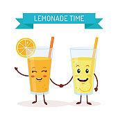 Funny lemonade characters
