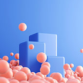 Blue empty empty podiums or platforms and lots of pink spheres for presentation