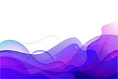 Vector geometric background. Liquid, flow, fluid background. Purple, blue 3d shapes composition. Modern flow, wavy abstract cover.