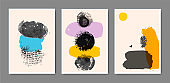 Vector set of creative minimalist hand painted illustrations for wall decoration, postcard, flyers, poster, brochure design.