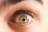 Close up human eye colorfully
