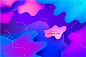 Vector wavy abstract geometric, liquid shapes background. Trendy gradient colorful composition, dynamic illustration